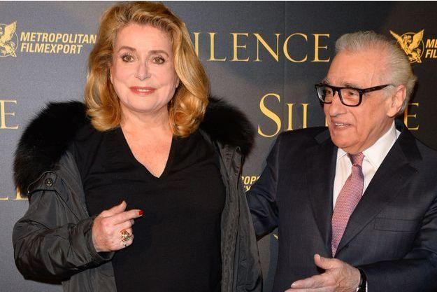 """Catherine Deneuve et Martin Scorsese pour la projection de """"Silence"""" au musée Guimet, à Paris."""