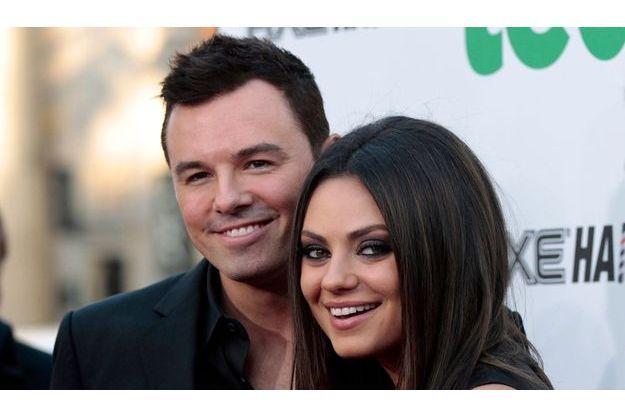 """Seth MacFarlane et l'actrice Mila Kunis lors de la promotion de """"Ted""""."""