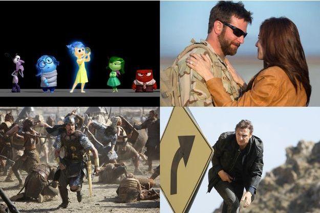 """De haut en bas et de gauche à droite: """"Vice Versa"""", """"American Sniper"""", """"Exodus"""" et """"Taken 3""""."""