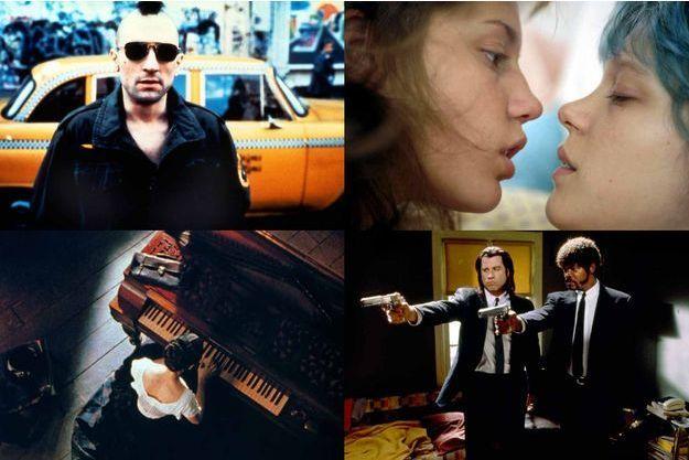 De haut en bas, de gauche à droite, «Taxi Driver», «La Leçon de piano», «La Vie d'Adèle» et «Pulp Fiction».