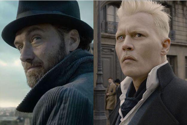 """Jude Law et Johnny Depp dans """"Les Animaux fantastiques : les crimes de Grindelwald""""."""
