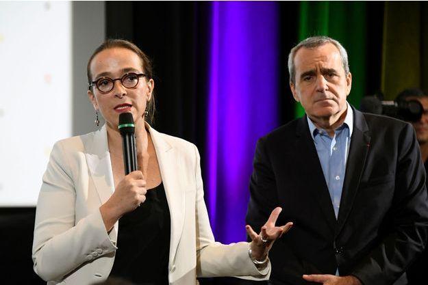 Delphine Ernotte Cunci et Takis Candilis, en conférence de presse jeudi.
