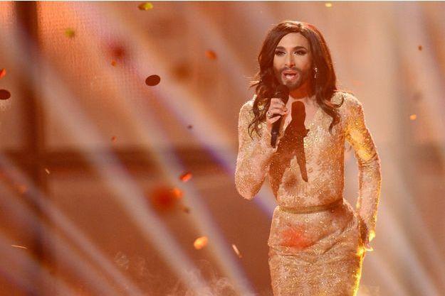 Conchita Wurst lors de sa participation à l'Eurovision en 2014.