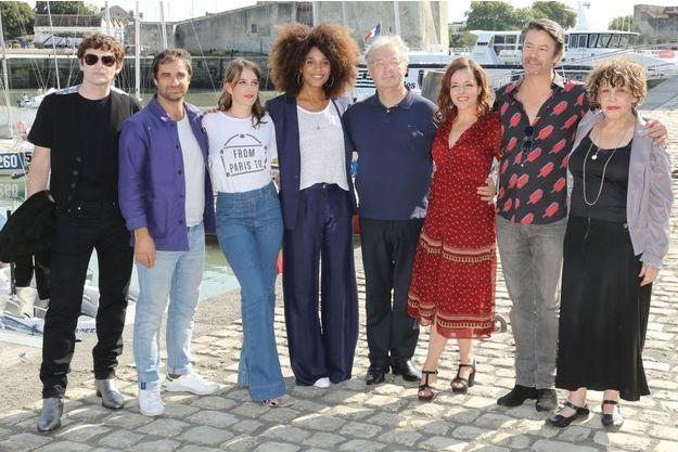 Les acteurs Nicolas Maury, Gregory Montel, Fanny Sydney, Stefi Celma, Dominique Besnehard, Laure Calamy, Thibault de Montalembert et Liliane Rovere, le 14 septembre 2018 à La Rochelle.