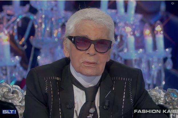 """Karl Lagerfeld sur le plateau de """"Salut Les Terriens""""."""