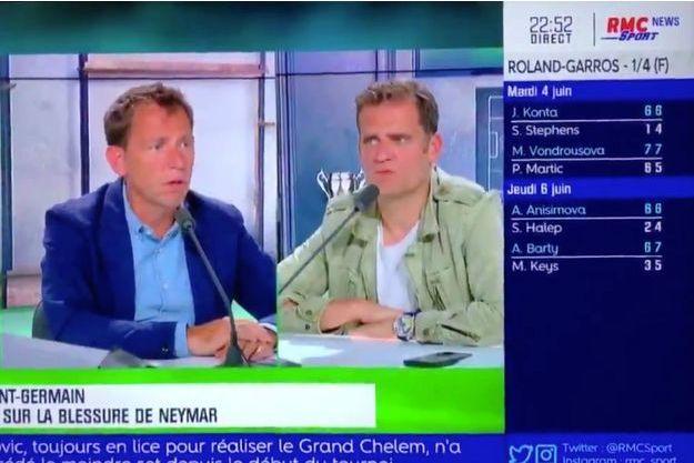 Le journaliste Daniel Riolo et l'ancien joueur Jérôme Rothen sur RMC Sport.