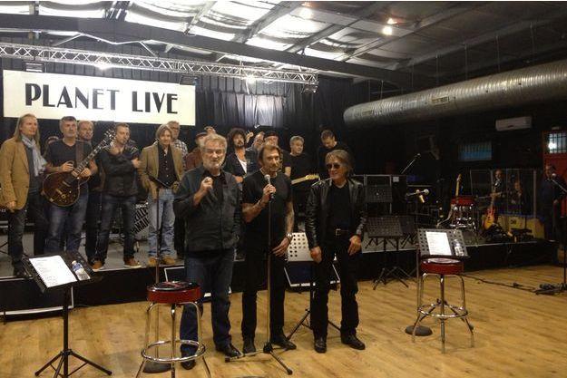 Eddy Mitchell, Johnny Hallyday et Jacques Dutronc.