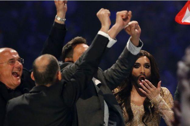 Conchita Wurst à l'instant où elle apprend sa victoire, samedi.