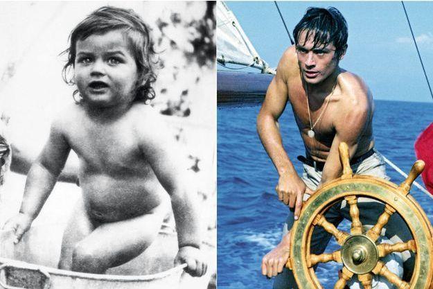 """A g., 1937 : Alain, 20 mois, est nu dans une bassine en cuivre. Le bras que l'on devine est celui de sa mère, Edith, qui baigne son bébé adoré. A d., en 1959, dans """"Plein Soleil"""" de René Clément."""