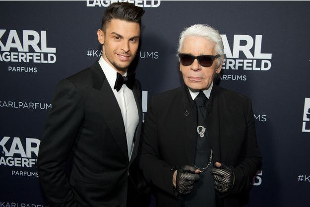 Baptiste Giabiconi et Karl Lagerfeld en 2014
