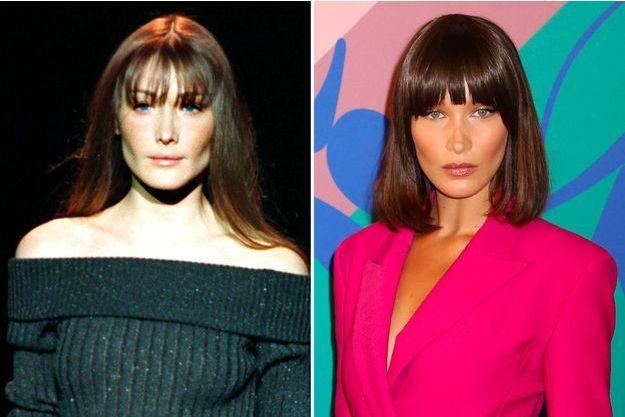 À gauche : Carla Bruni, à droite : Bella Hadid