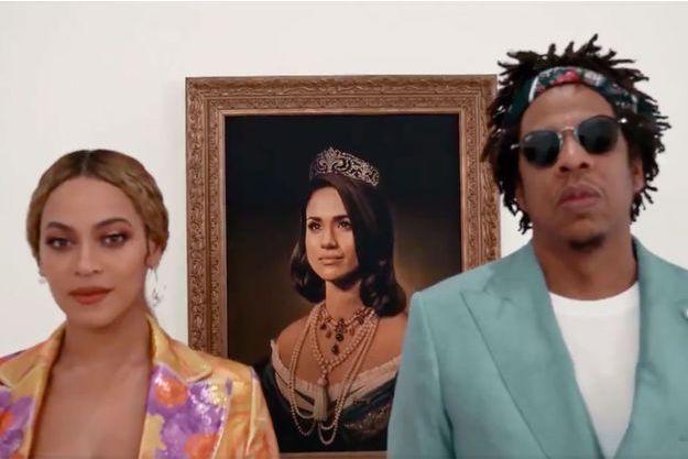 Beyoncé et Jay-Z dans leur vidéo de remerciements diffusée lors des Brit Awards.