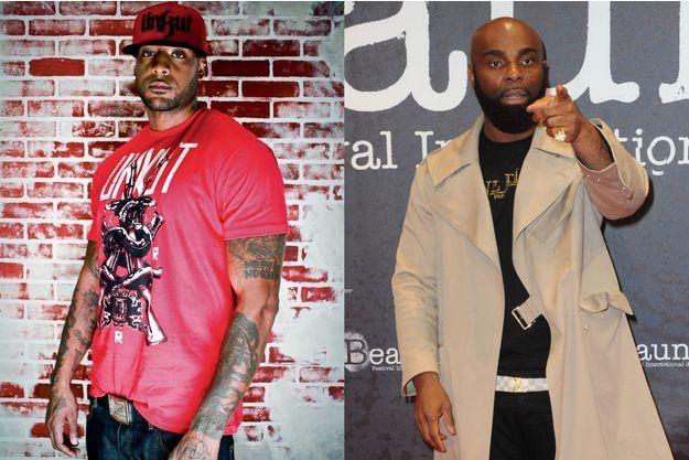 A gauche, Booba et son look intégral Ünkut, sa marque fondée en 2004 qui totalise 450 points de vente. A droite; Kaaris, qui a lancé deux lignes de vêtements.
