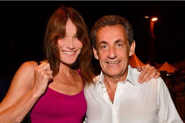 Carla Bruni et Nicolas Sarkozy à Juan-les-Pins, le 17 juillet 2018