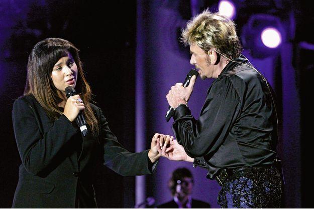 Avec Johnny Hallyday en 2003.Chimène Badi
