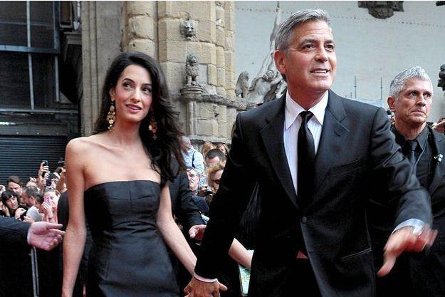 Amal Alamuddin et George Clooney à Florence, le 7 septembre 2014.
