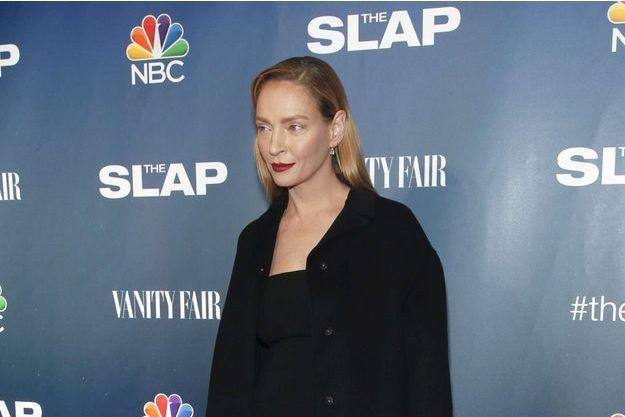 """Uma Thurman à l'avant-première de sa nouvelle série """"The Slap"""" le 9 février dernier"""