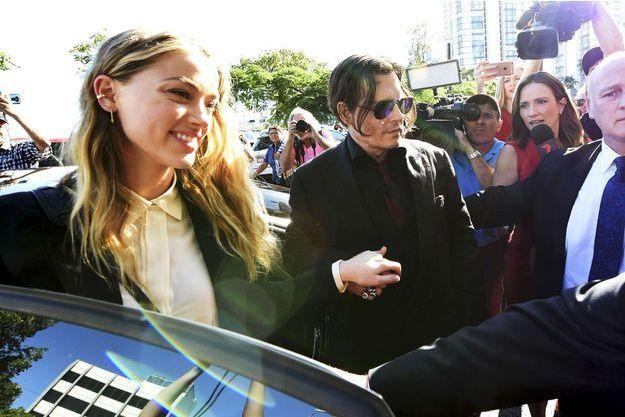 Johnny Depp et Amber Heard à Brisbanne, le 18 avril 2016.