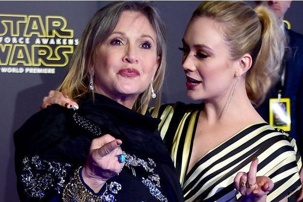 Carrie Fisher et sa fille Billie Lourd en décembre 2015 à Hollywood.