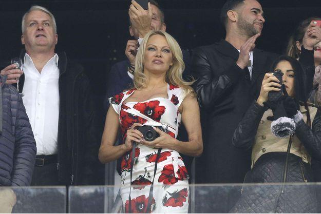 Pamela Anderson au stade Vélodrome à Marseille le 28 janvier 2018