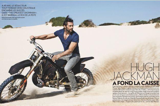 Né dans le bush australien, Hugh Jackman garde une passion pour le trial, sans casque et en espadrilles…