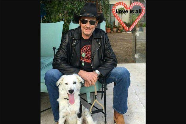 Johnny Hallyday sur la photo diffusée mardi soir sur son compte instagram.