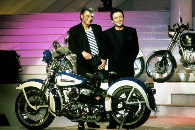 "Johnny Hallyday et Michel Drucker en janvier 1992 dans ""Star 90"""