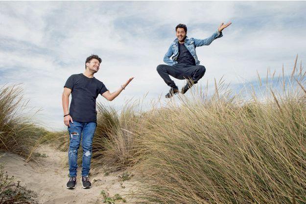 """Kev Adams et Jamel Debbouze à la Grande-Motte, le 15 septembre, pour l'une des étapes de la tournée d'""""Alad'2"""", en salle le 3 octobre."""