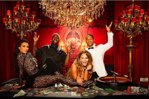 Kim Kardashian, Kanye West, Chrissy Teigen et John Legend