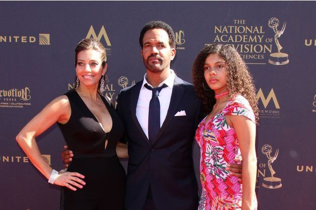 Kristoff St. John, sa fille Paris et son ex-femme Mia à Los Angeles, le 30 avril 2017