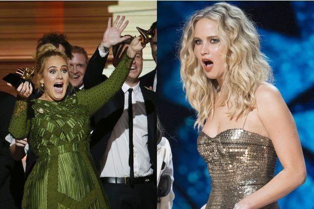 Adele lors des Grammy 2017 et Jennifer Lawrence lors des Oscars 2018.