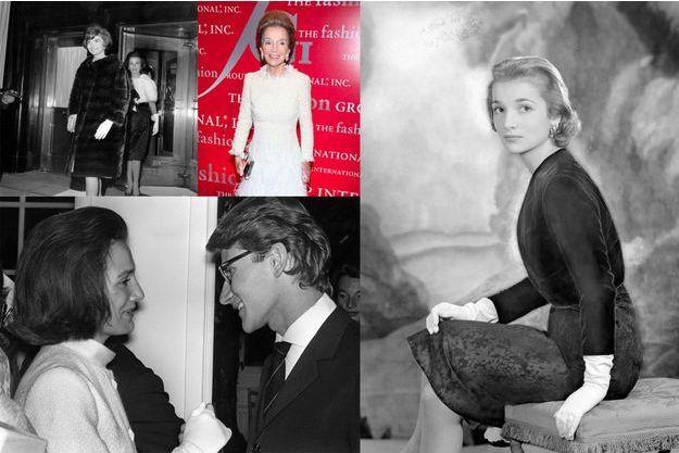 De g. à dr. : la princesse Lee Radziwill avec sa sœur Jacqueline en mars 1961 à Londres; en 2011 à New York; en 1956 et avec Yves Saint-Laurent en juillet 1962.