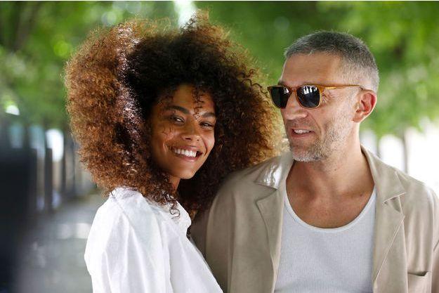 Tina Kunakey et Vincent Cassel au défilé Louis Vuitton à Paris le 21 juin 2018
