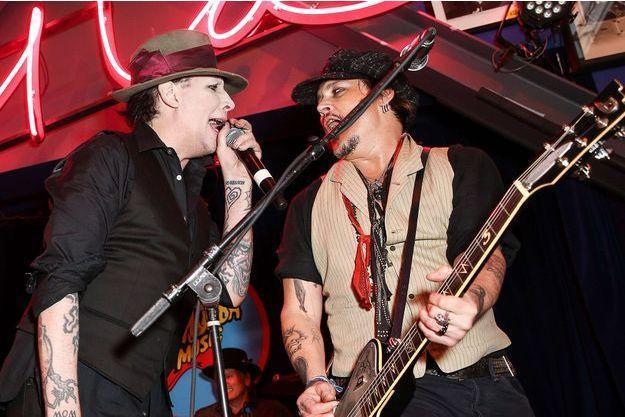 Marilyn Manson et Johnny Depp en concert pour Stella McCartney, janvier 2016.