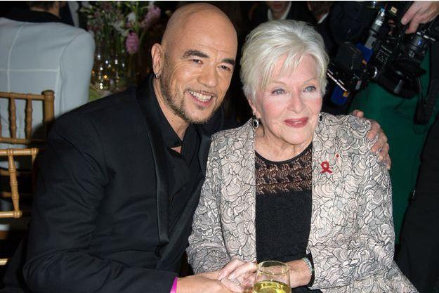 Pascal Obispo et Line Renaud au dîner de gala Sidaction au Pavillon d'Armenonville à Paris, le 23 janvier 2014.