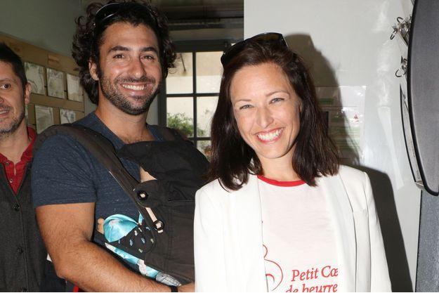 Natasha St-Pier avec son mari et leur fils Bixente