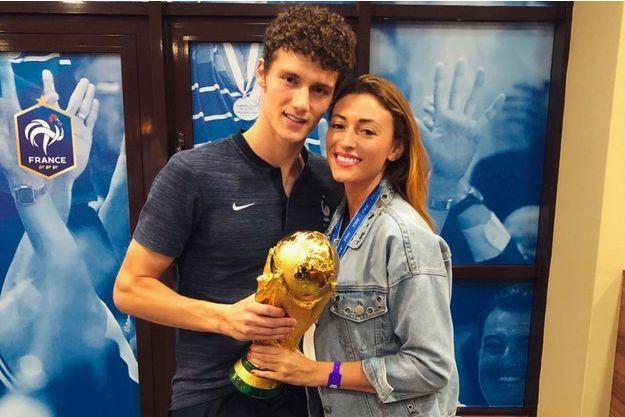 Rachel Legrain-Trapani et Benjamin Pavard après la victoire de la France en finale de la Coupe du monde le 15 juillet 2018