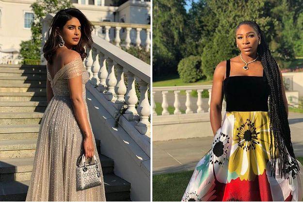 Priyanka Chopra et Serena Williams en tenue de soirée pour Meghan et Harry, le 19 mai 2018.