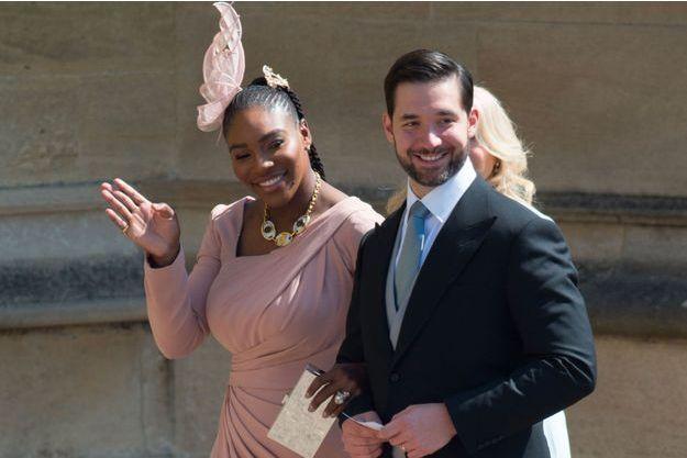 Serena Williams et son mari Alexis Ohanian au mariage de Meghan Markle avec le Prince Harry, le 19 mai 2018