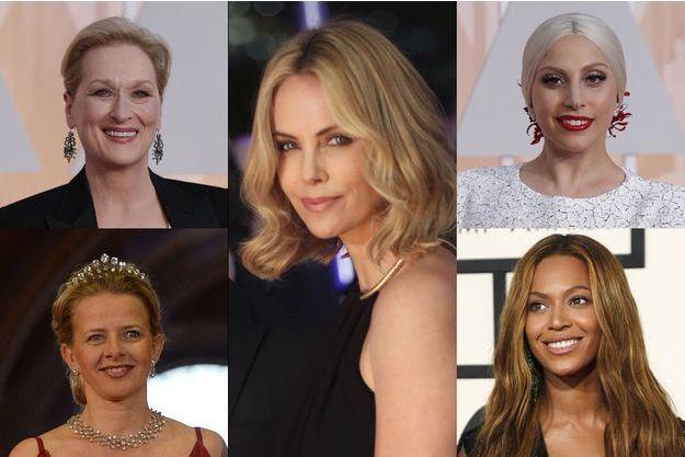 Dans le sens des aiguilles d'une montre, en en commençant par le coin en haut à droite : Meryl Streep, Charlize Theron, Lady Gaga, Beyonce, la princesse Mabel, toutes signataires de la lettre ouverte.