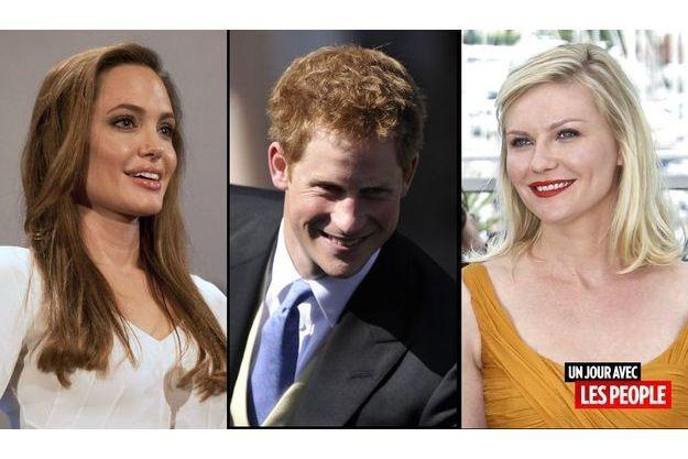 Angelina Jolie, le prince Harry et Kirsten Dunst