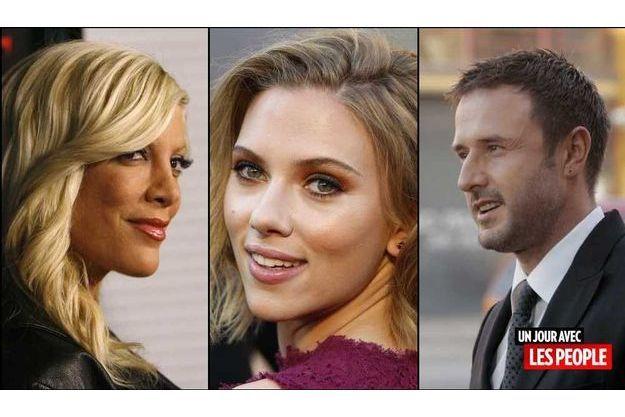 Tori Spelling, Scarlett Johansson, David Arquette.