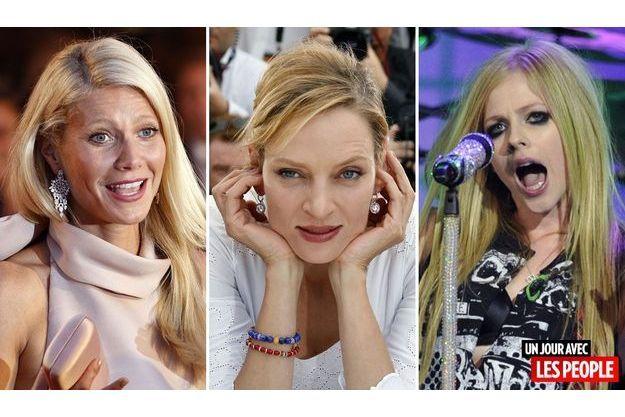 Gwyneth Paltrow, Uma Thurman et Avril Lavigne.