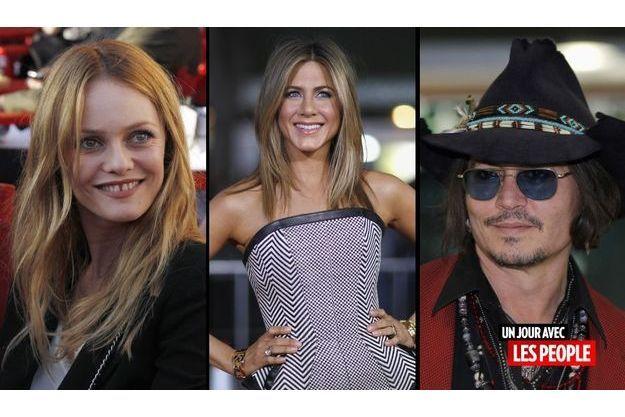 Vanessa Paradis, Jennifer Aniston et Johnny Depp