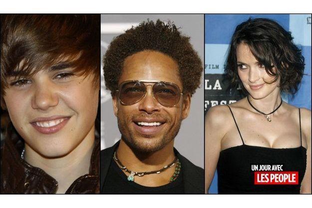 Justin Bieber, Gary Dourdan et Winona Ryder