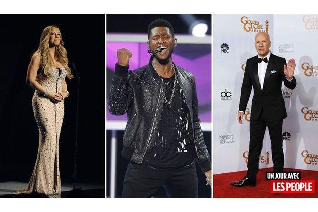 Mariah Carey, Usher et Bruce Willis.