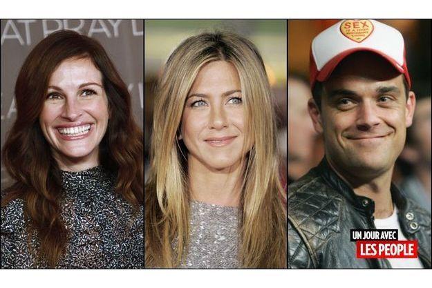 Julia Roberts, Jennifer Aniston et Robie Williams.