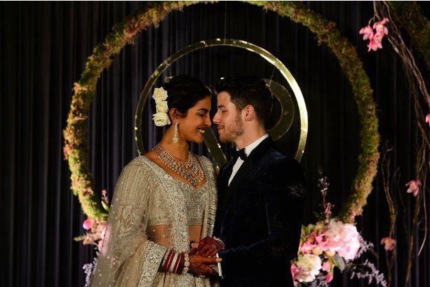 Priyanka Chopra et Nick Jonas lors d'une réception à New Delhi, le 4 décembre.