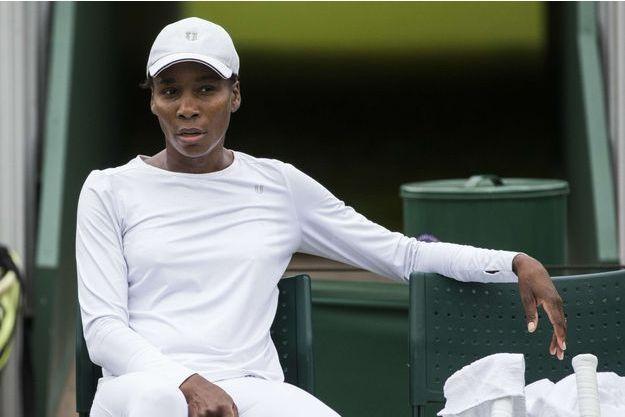 Venus Williams lors d'un entrainement à Wimbledon, le 1er juillet 2017.