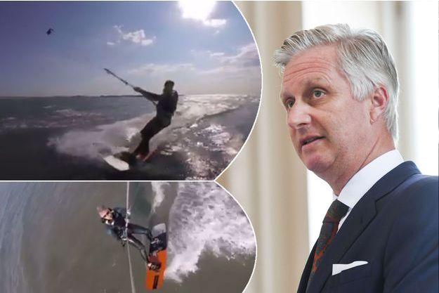 Le roi Philippe de Belgique le 27 juin 2017 - En médaillons : le roi Philippe pratique le kitesurf en mer du Nord